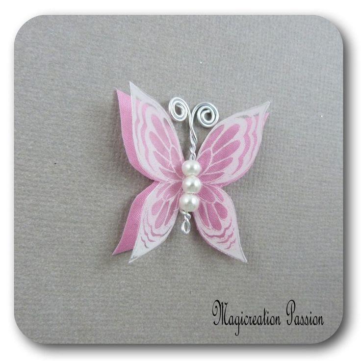 papillon 3.5 cm double ailes soie rose transparent blanc - Ysatis : Décoration d'intérieur par les-tiroirs-de-magicreation-passion