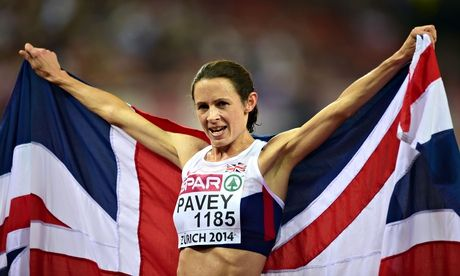 """""""Jo Pavey celebrates winning the women's 10,000m at the 2014 European Athletics Championships in Zurich, beating competitors up to 16 years h..."""""""