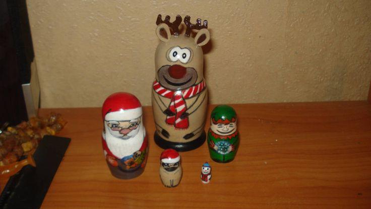 5pc hand painted wooden lacquered russian matryoshka nesting dolls CHRISTMAS SANTA'S TEAM by Matreshkas on Etsy