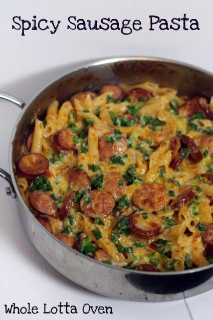 Spicy Sausage Pasta - Did not brown the sausage enough *next time brown sausage 1st, then add onion, may be able to omit oil this way. Overall, very easy, quick meal, Han enjoyed helping. A little spicy for Han, even with Mild Rotel.