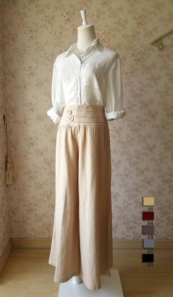Women Plus size Pants Linen Oversize Casual Pants by Dressromantic