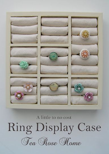Tea Rose Home: Tutorial/How to turn  a Dollar Store Find to a Ring Display Case: Rings Display, Dollar Stores Finding, Idea, Ring Displays, Jewelry Display, Display Cases, Rings Holders, Diy Rings, Teas Rose