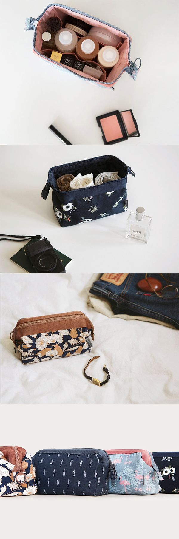 This pouch was made to be your travel buddy! The Dailylike Frame Pouch has a unique shape and design that allows it to securely hold more items. Place your travel sized (and some full sized) makeup, skincare, toiletries, and cosmetics in the main compartment. The rectangular shape and frame will keep all your items standing upright! The 2 extra pockets inside can hold lipsticks, cushion compacts, brushes, and more! To top it off, this pouch is water repellant and extra durable! Check it out…