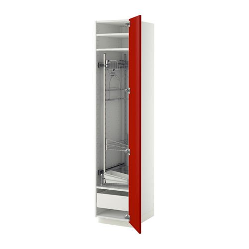METOD High cabinet with cleaning interior - white, Ringhult high-gloss red, 40x60x200 cm, Fö - IKEA