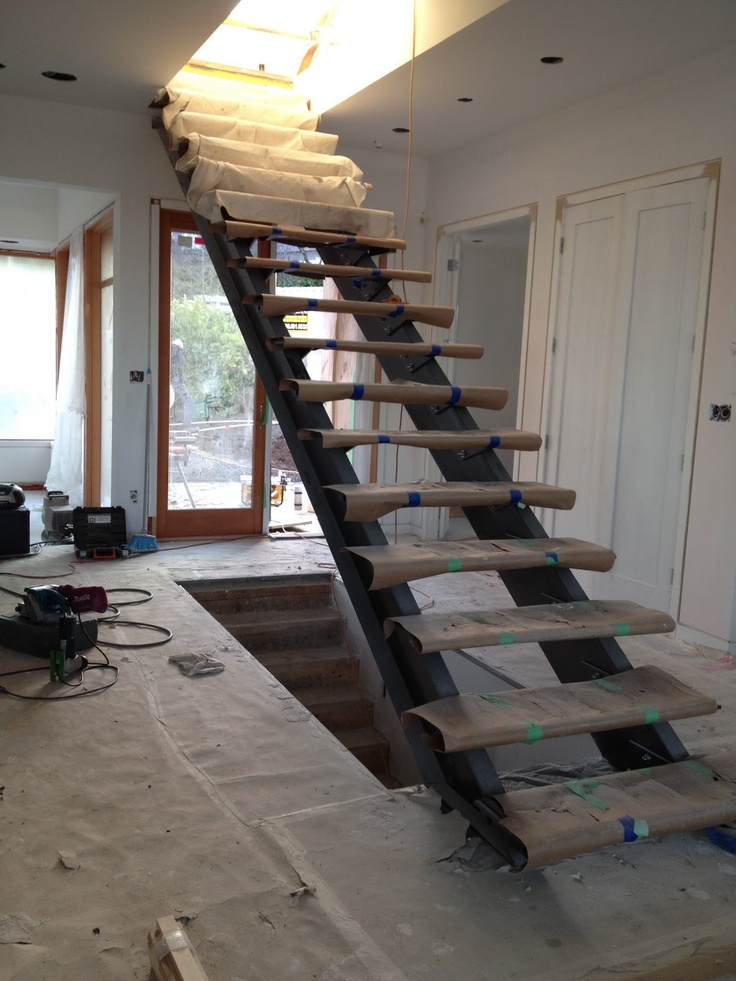 The main floor stairs were recently installed