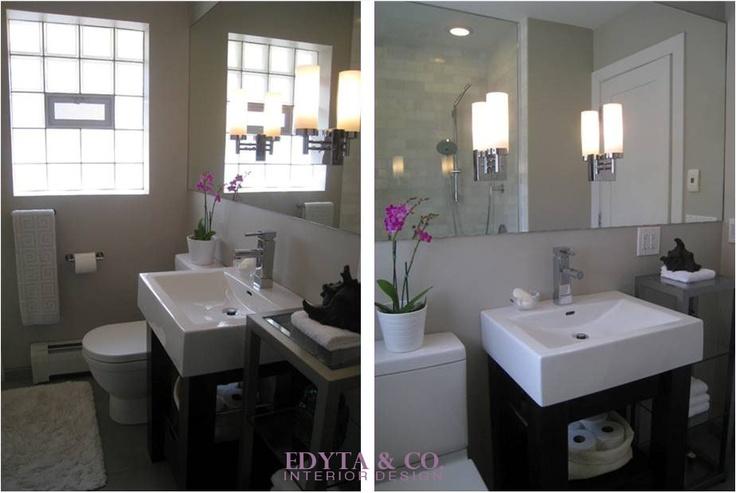 Modern Chicago Bathroom Design. Small bath, rectangular porcelain dark wood pedestal sink, bright fresh bath design. www.edytaandco.com