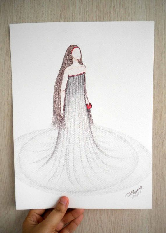 Fashion illustration in colorpencil  'Red Carpet by Kalatirth, $50.00