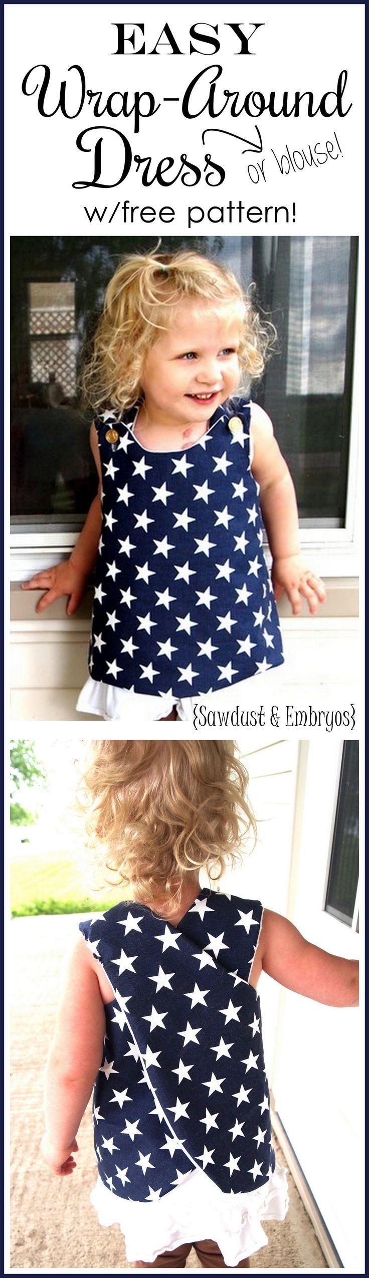 Suuuper simple wrap-around dress tutorial... so cute for toddlers! includes FREE PATTERN {Reality Daydream}