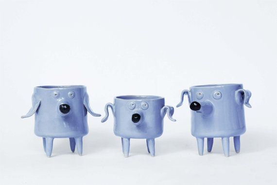 Set of three Ceramic Dog Planters, Cactus planters, flower pots, Daschund shape planter, grey dog, grey ceramic planter, Modern Ceramic
