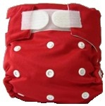 Happy Babes RED One Size Nappy is a Modern Cloth Nappy (MCN) that can be worn from birth to toilet training. The One Size Nappy has plastic snaps on the front of the nappy allowing the rise of the nappy to be adjusted as your baby grows from birth to toilet training. Pocket Nappies consist of a waterproof outer which is usually a polyurethane laminated polyester and a cotton micofibre lining that is extremely soft against the baby's skin.