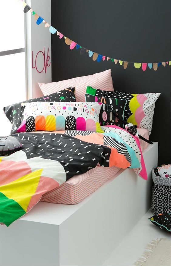 Beautiful quirky cushions - 10 Fun and Loony Kids Bed Linen | Tinyme Blog