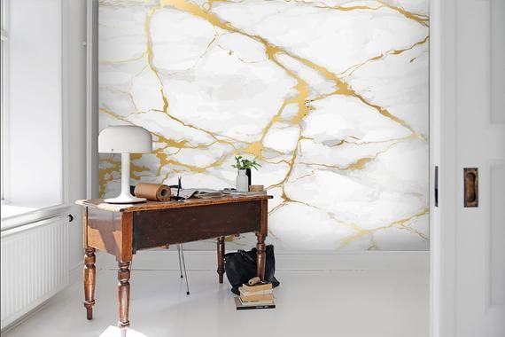 3d Gold White Marble Wallpaper Removable Self Adhesive Etsy In 2021 Marble Wall Mural Marble Wallpaper Self Adhesive Wallpaper