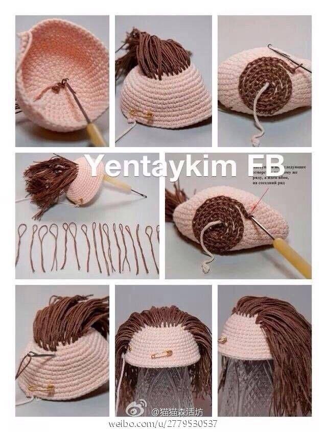 Tutorial Iniciacion Amigurumi : Amigurumi hair photo tutorial u hilariafina http