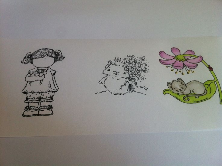 Stamped, scanned, printed, painted  Copic colouring