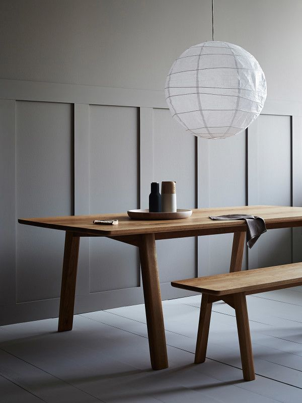 Wake dining table with bench seat, made locally by George Harper of Tide Design. Styling by Ruth Welsby, photo by Mike Baker.