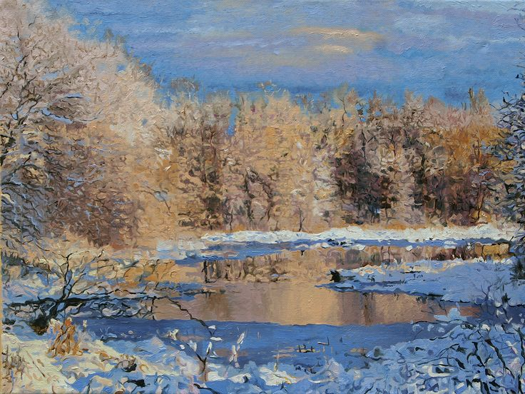 First Snow Landscape oil painting by Kenneth Young www.kenyoungfineart.com