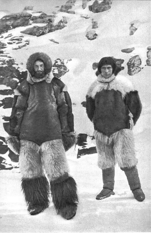 Arctic Explorers, like Freuchen and Rasmussen pictured here, often dressed in the tradition garb of the Inuit made of animal skins to better withstand the extreme climate.