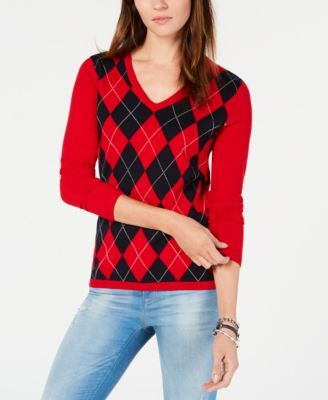 665a295141 Cotton Argyle-Front Sweater