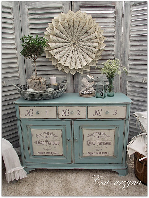 i love the cream and blue, could do without the text stencils. maybe some crystal knobs- this could be a good kasey piece!!