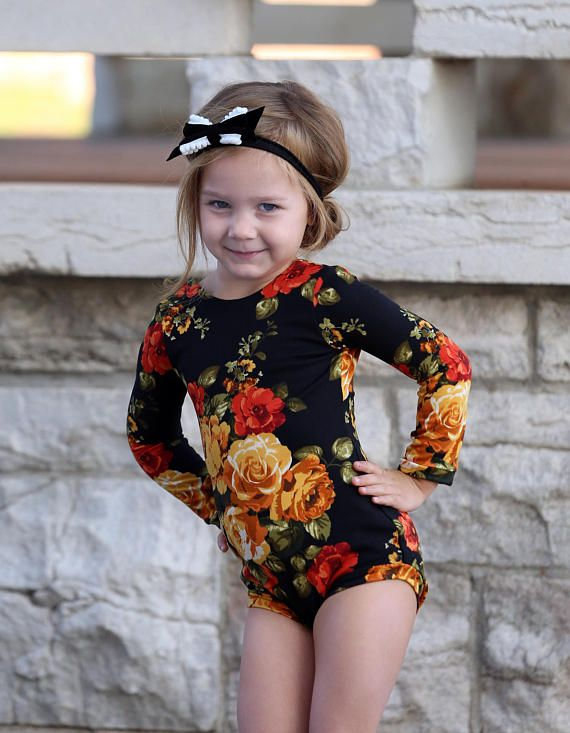 Ships from the USA. Girls Fall Floral Leotard Amber Roses Ballerina Bodysuit. Ackee tree clothing on Etsy.