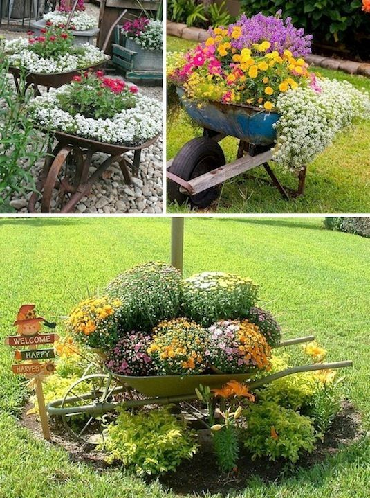 24 ideias criativas recipiente jardim |  Use carrinhos de mão como plantadores!