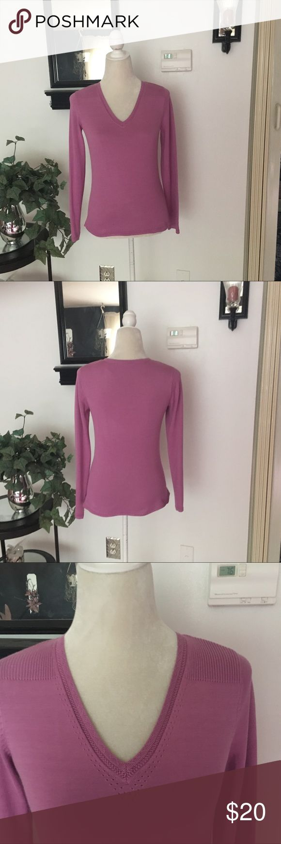Liz Claiborne Purple Long Sleeve Top Liz Claiborne Light Purple (lilac?) Long Sleeve Top. This is thicker than a Top but not thick like a sweater. Gently worn. Size Small. Bust/chest (armpit to armpit) measures approx 17.5 un stretched. Length is approx 22 inches un stretched. Liz Claiborne Tops