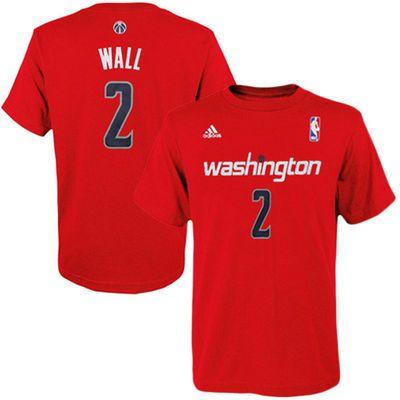 Youth Washington Wizards John Wall adidas Red Game Time Flat Name & Number T-Shirt