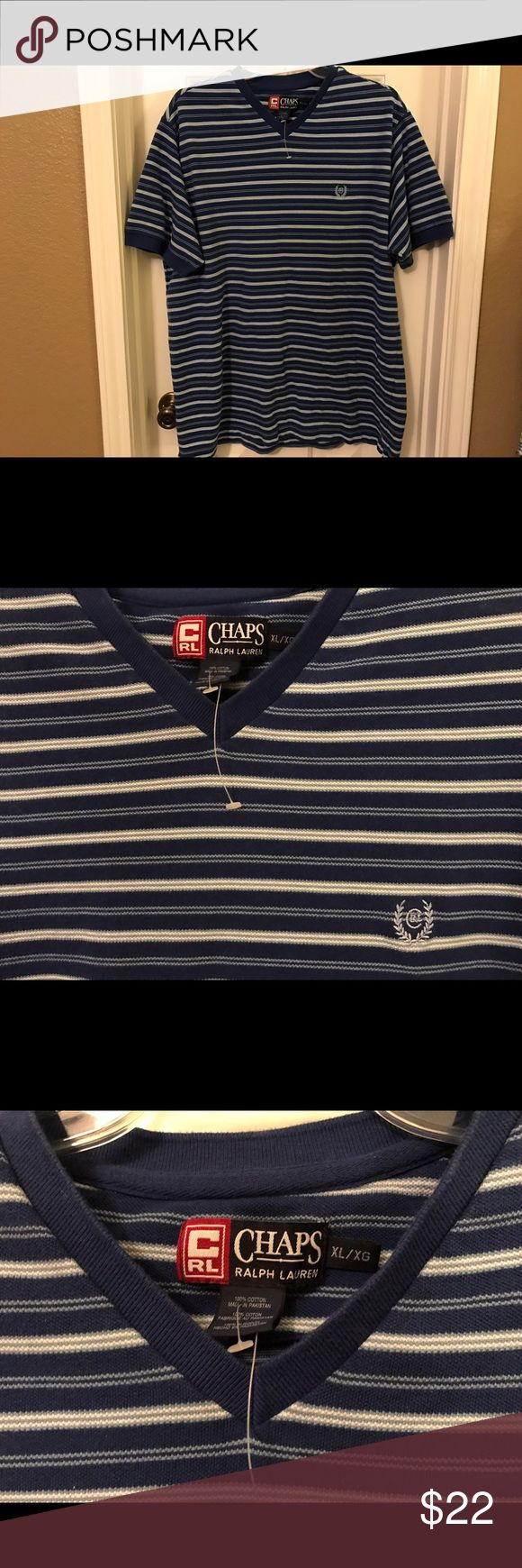 Chaps Ralph Lauren Polo Golf V-Neck Shirt XL NWOT Chaps Ralph Lauren Polo Golf V-Neck Shirt Size XL. It is new without tags--still has the plastic tag holders though. It is royal blue with white and light blue stripes. 100% cotton. Smoke-free home. Chaps Shirts Polos