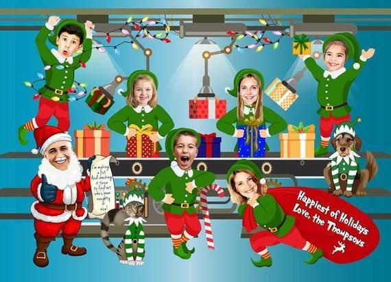 Santa S Workshop Corporate Christmas Card Company Christmas Card Funny Elf Workshop Christmas Card Custom Company Caricature Large Group Company Christmas Cards Corporate Christmas Cards Funny Christmas Cards