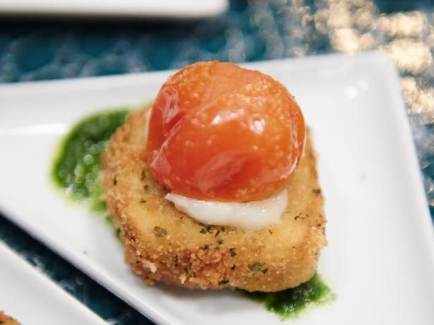 Get Mini Eggplant Parm, Roasted Cherry Tomato, Basil Pesto Recipe from Food Network