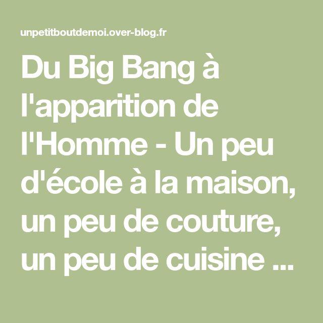 Du Big Bang à l'apparition de l'Homme - Un peu d'école à la maison, un peu de couture, un peu de cuisine ...