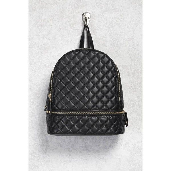 Forever21 Quilted Faux Leather Backpack ($30) ❤ liked on Polyvore featuring bags, backpacks, black, forever 21 bags, buckle backpack, zip top bag, faux leather bag and quilted backpack