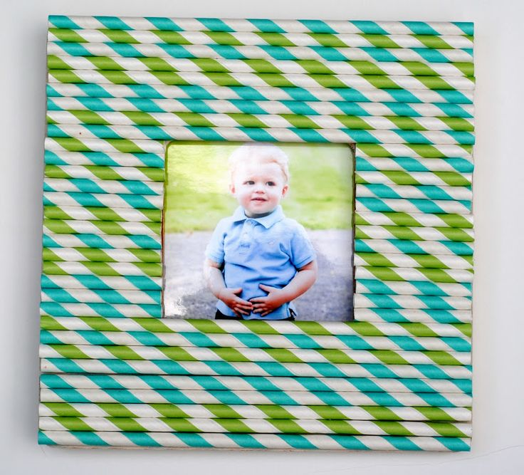 Frame decorated with straws
