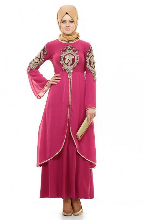 Bürün Güpürlü Elbise-Fuşya 8392-43 - Bürün