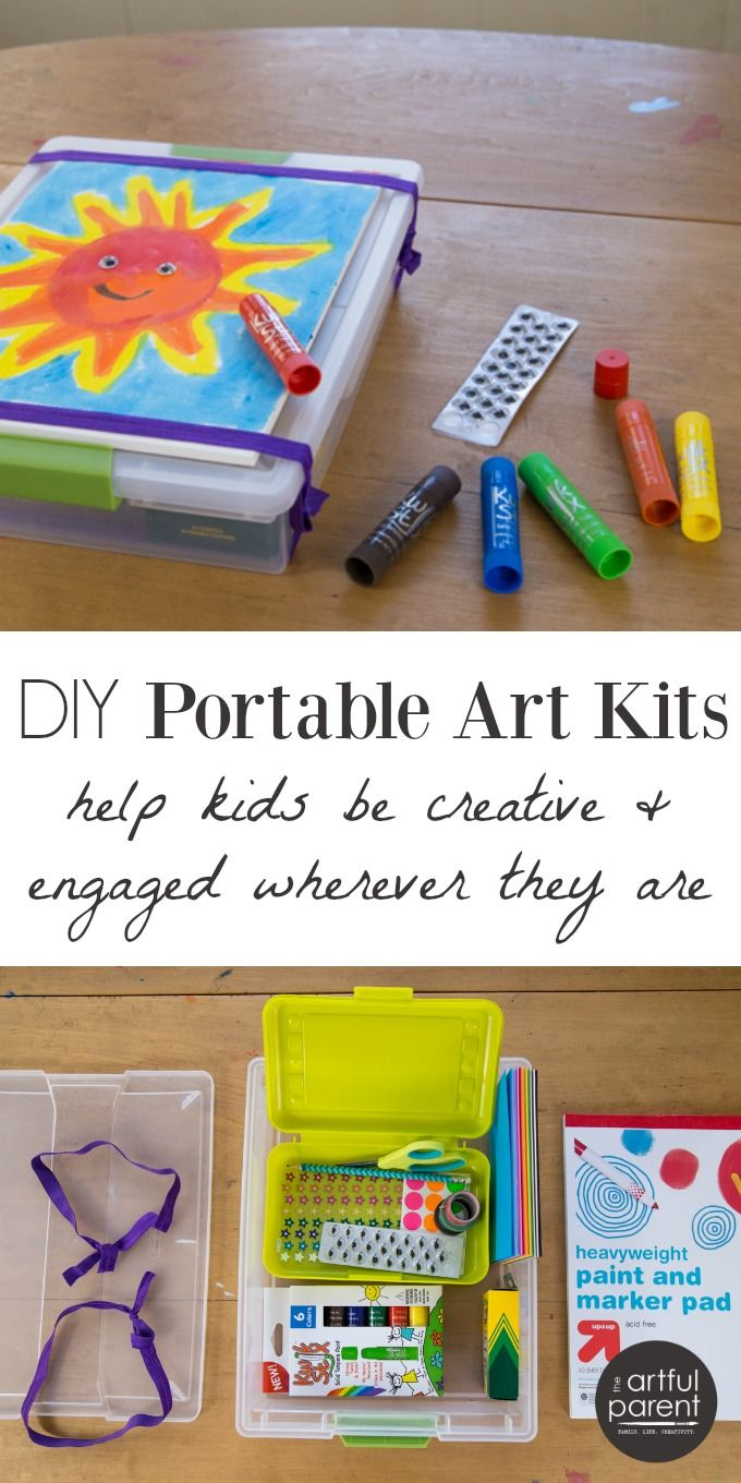 Craft kits for preschoolers - Diy Portable Art Kits For Kids To Use For Family Trips And Gifts