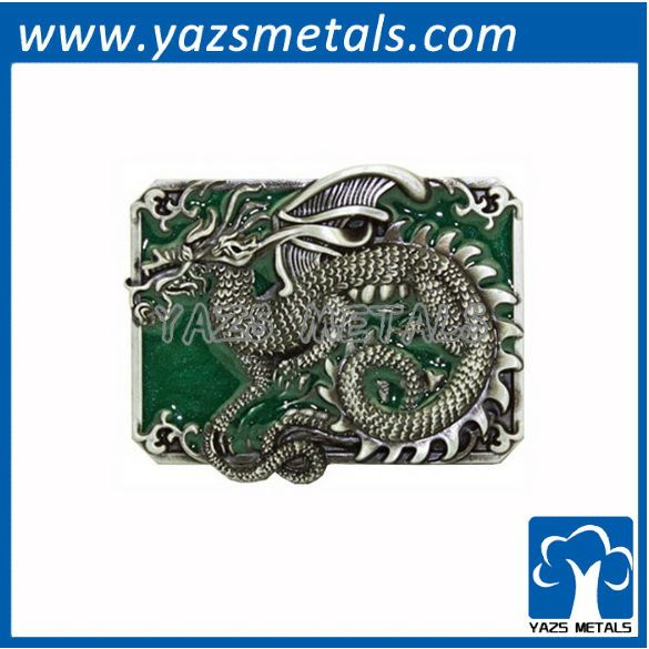 """customize belt buckles, custom dragon with green belt buckle"""