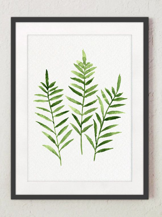 Fern Painting Green Abstract Leaf Watercolor by ColorWatercolor