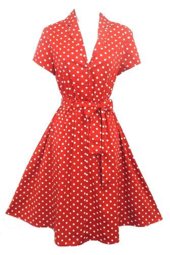 New Rosa Rosa Red Polka Dot WWII 1940's Vtg style classic Shirt Swing Tea Dress Viva-la-Rosa http://www.amazon.co.uk/dp/B00NQA3E2M/ref=cm_sw_r_pi_dp_.bXjub01998E2