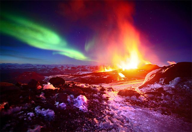 Iceland. northern lights. volcano.