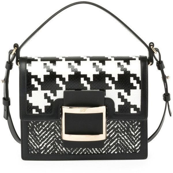 c85098024099 Roger Vivier Ms. Viv Houndstooth Shoulder Bag (119.320 RUB) ❤ liked on  Polyvore featuring bags