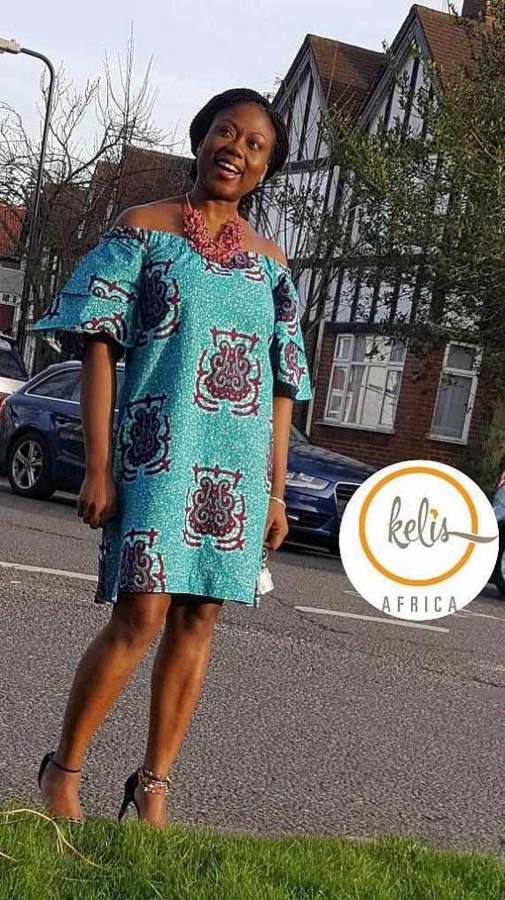 Off Shoulder Ankara Dress/ African Print Bardot Style Dress/