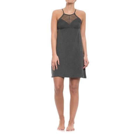 Nicole Miller High Neck Linear Lace Chemise - Sleeveless (For Women) in Charcoal Heather