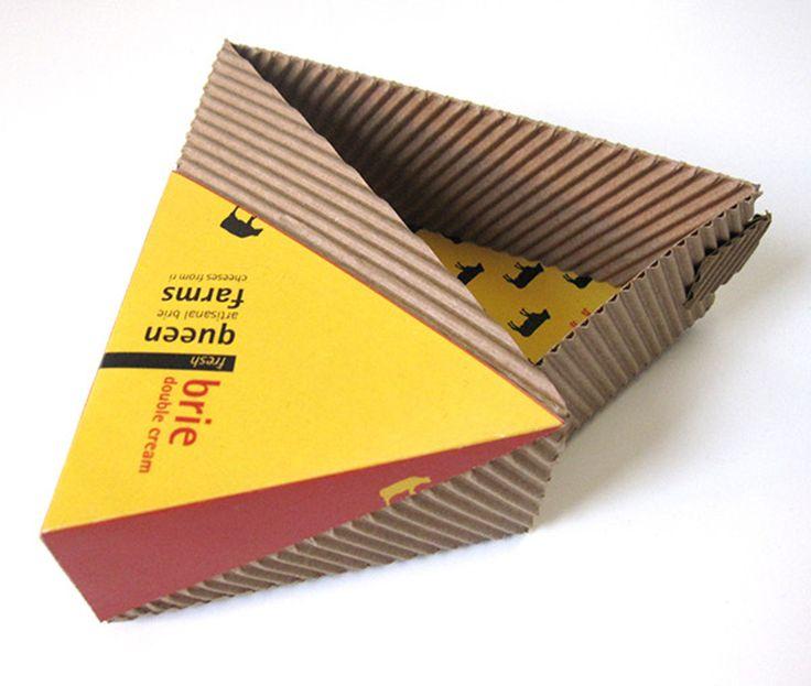 Дизайнер Emily Edelman создала проект упаковки для сыра brie, треугольные коробки из двухслойного гофрокартона для пяти видов сыра, у каждой коробки свое оформление. Структура двухслойного гофрокартона использована в дизайне оформления коробок как неотъемлемая часть, изящный орнамент.  Размеры коробок рассчитаны так что у продавца есть возможность разместить их на витрине в виде единой конструкции.    http://am.antech.ru/1nOJ