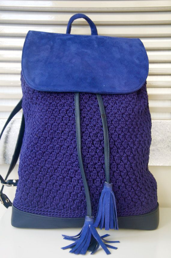 navy blue backpack by PELLSatelier on Etsy