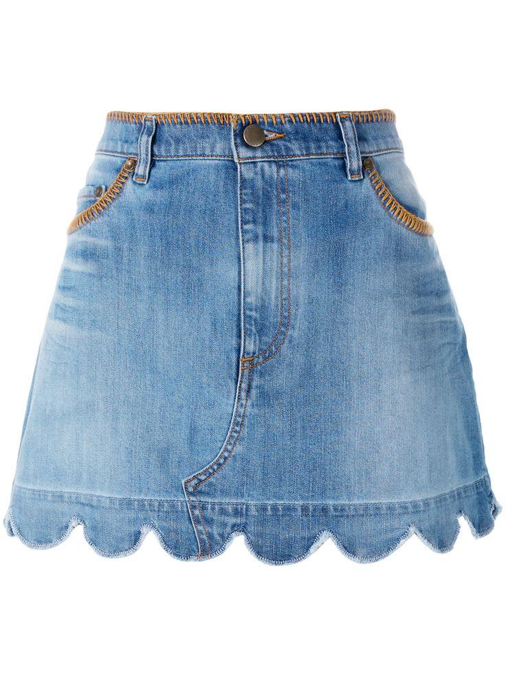 Red Valentino джинсовая юбка с фестонами