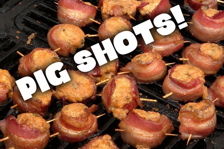 Smoked Pig Shots Recipe for Smoked Pig Shots, which is essentially a piece of kielbasa, wrapped in bacon, stuffed with cheesy goodness and topped with brown sugar. These are amazing. Try them and let me know what you think. Source: StokedOnSmoke