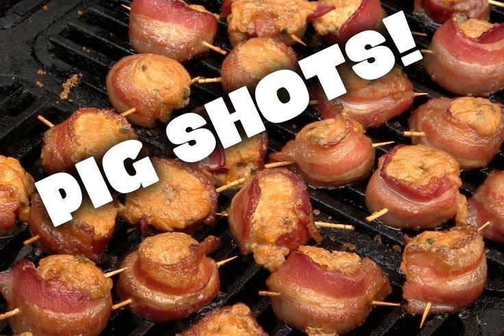 Smoked Pig Shots, Bacon Cheese kielbasa