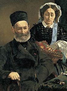 Portrait de M. et Mme Auguste Manet, (1860) par Édouard Manet. Musée  d'Orsay, Paris.— Wikipédia