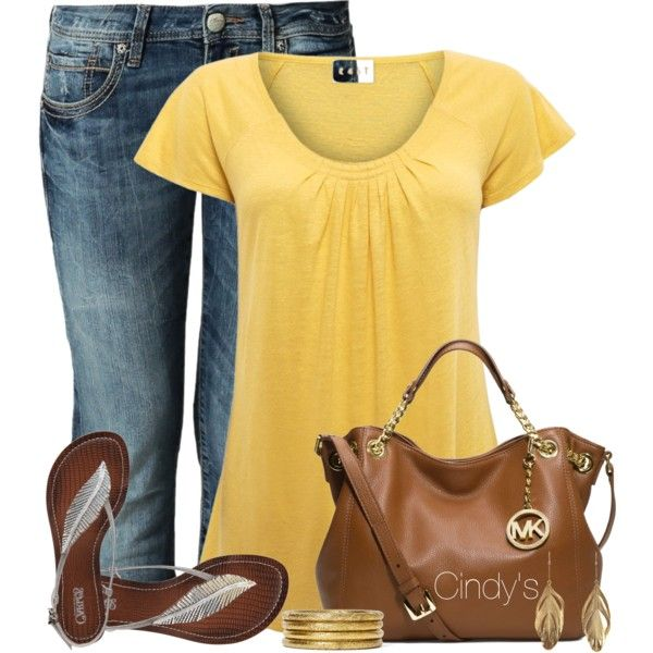 Yellow t shirt, created by cindycook10 on Polyvore