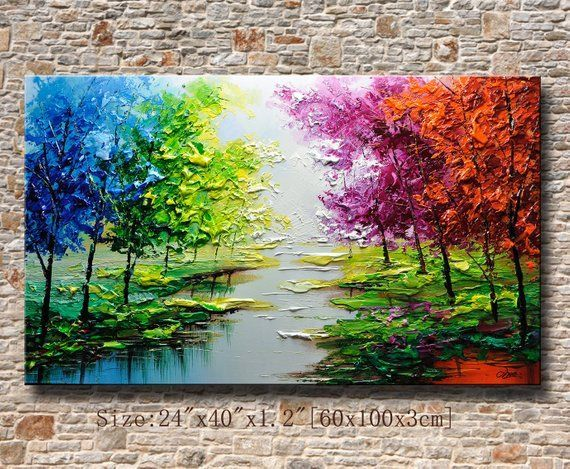 Contemporary Wall Art Palette Knife Painting Colorful Landscape
